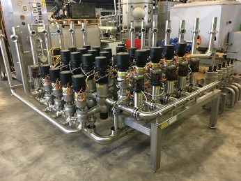 APV Manifold with 45 valves Valves and swingbend panels